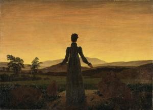 """""""Mulher ante o sol poente"""" (1818), de Caspar David Friedrich"""